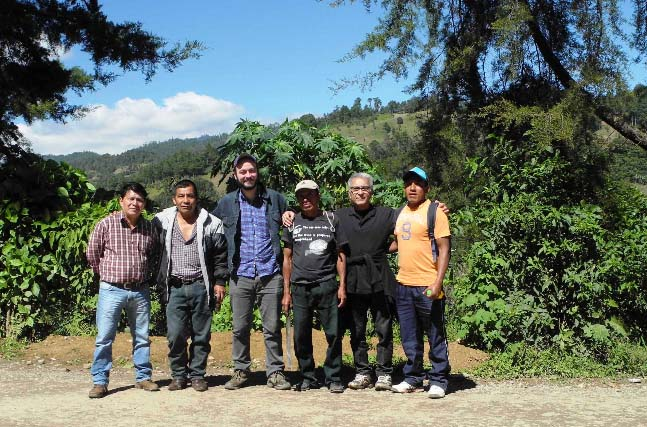 CC Green Buyer Felipe Gurdian and Coutts Coffee Roaster/Owner Al Teflissi check in with Chajulense during the 2014 harvest.