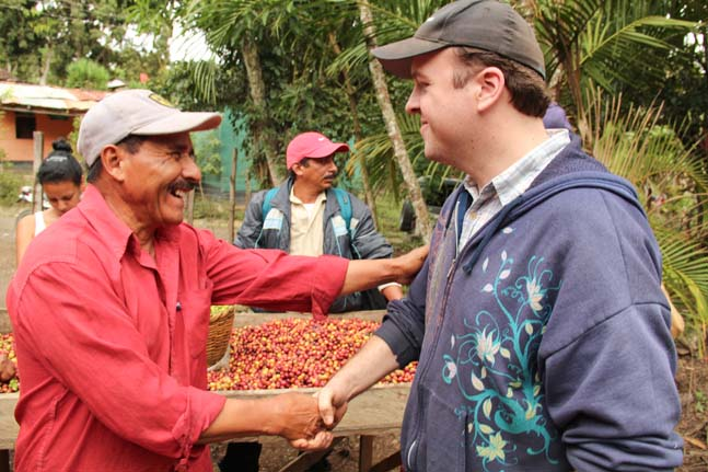 Larrys Coffee Head Roaster, Brad Brandhorst visits Guillermo Sanchez of Prococer during the harvest season in Las Segovias, Nicaragua.
