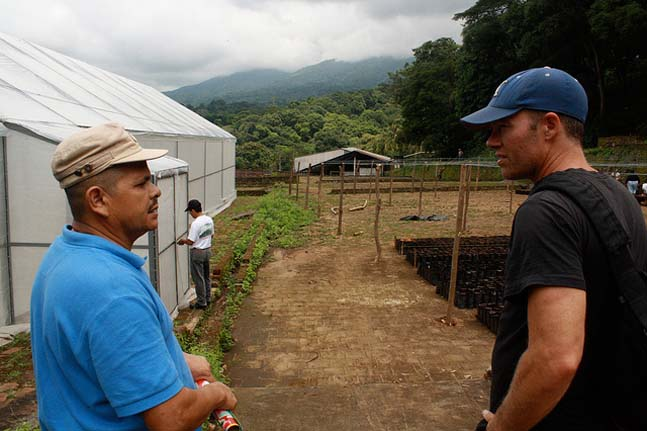 Felipe Dominguez explains the field renovation plan to Matt Earley, JustCoffee Cooperative roaster/owner during one of their many visits together.