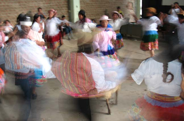 Wrapping up an exchange between producers and CoopCoffees roasters in 2010, Pangoa Cooperative members in the Central Jungle Region of Peru delight us with a traditional dance performance..